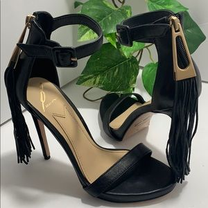 Brian Atwood Black Leather Sandals